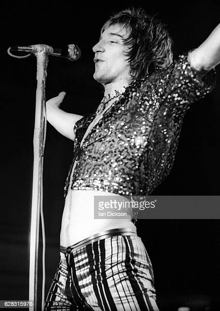 Rod Stewart of The Faces performing on stage at City Hall Newcastle upon Tyne 08 December 1972