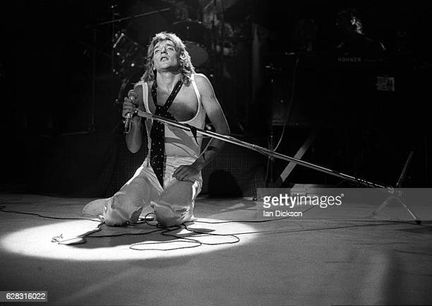 Rod Stewart of The Faces performing on stage at Lewisham Odeon London 18 November 1974