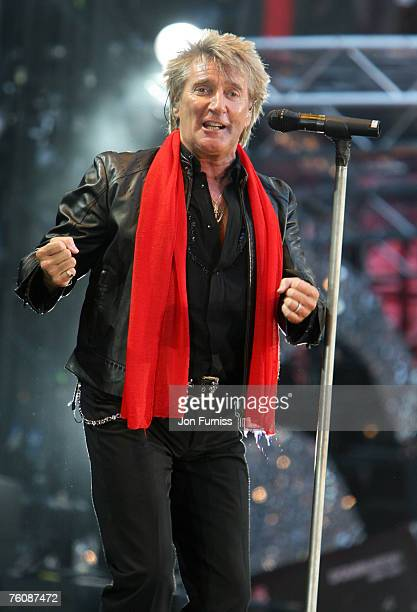 Rod Stewart on stage during The Concert For Diana held at Wembley Stadium on July 1 2007 in London The concert marked the 10th anniversary of...