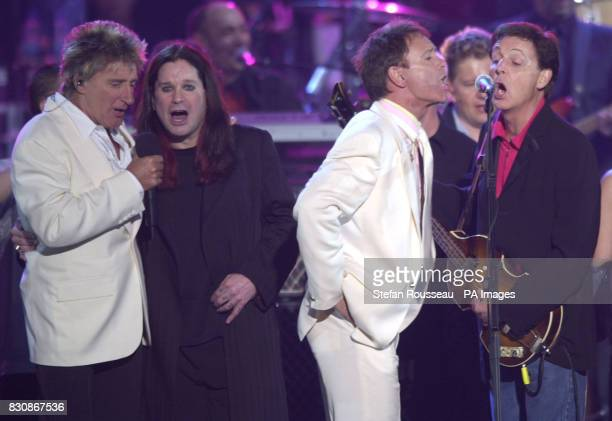 Rod Stewart Ozzy Osborne Sir Cliff Richard and Sir Paul McCartney on stage during the finale in the gardens of Buckingham Palace after the second...