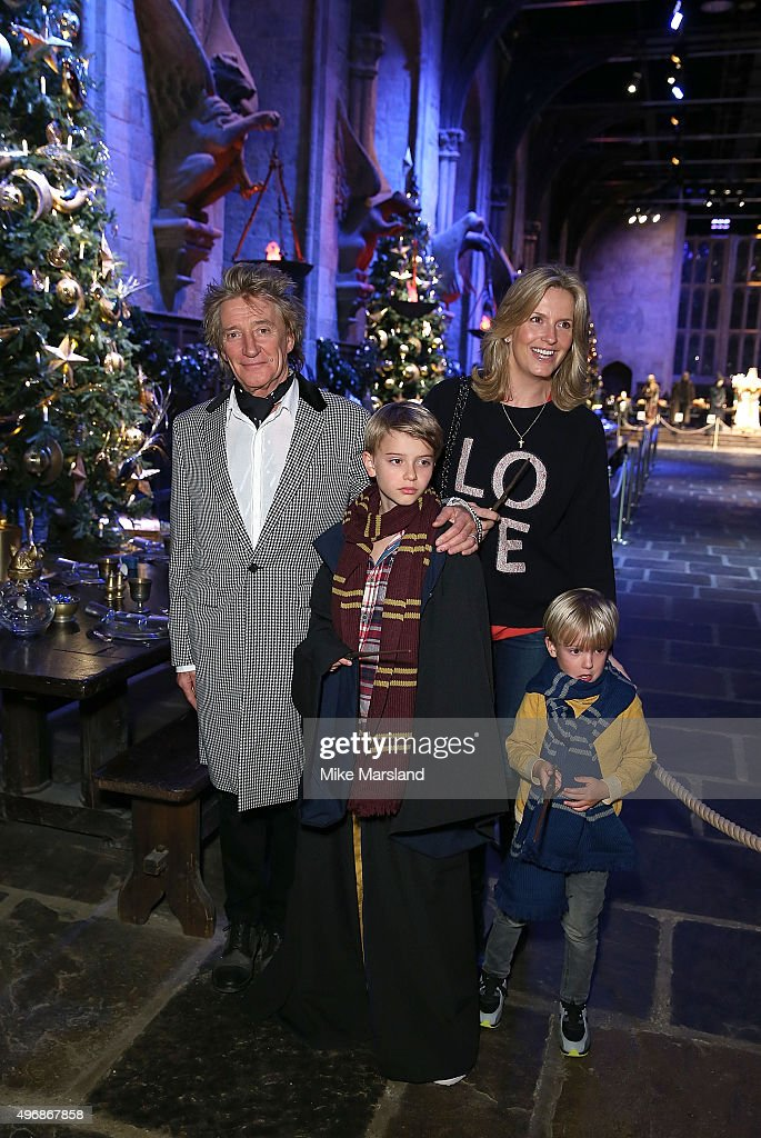 Rod Stewart, Penny Lancaster and family attend the Launch Of Hogwarts In The Snow at Warner Bros. Studio Tour London on November 12, 2015 in Watford, England.