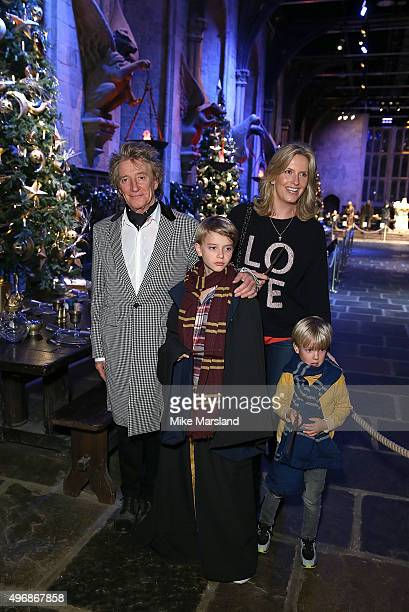 Rod Stewart Penny Lancaster and family attend the Launch Of Hogwarts In The Snow at Warner Bros Studio Tour London on November 12 2015 in Watford...