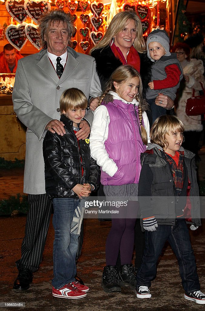 Rod Stewart, Penny Lancaster and family attend the Winter Wonderland launch party at Hyde Park on November 22, 2012 in London, England.