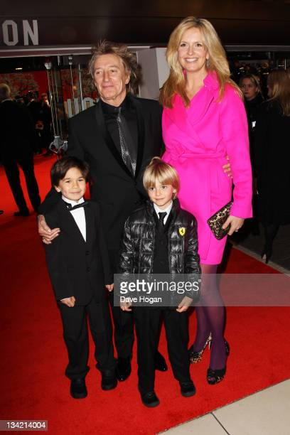 Rod Stewart Penny Lancaster and son Alastair attend a Royal film performance of Hugo in 3D at The Odeon Leicester Square on November 28 2011 in...