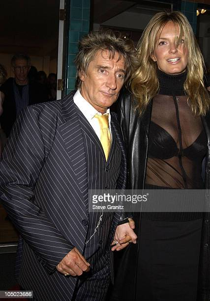 Rod Stewart Penny Lancaster during Rolling Stones Ronnie Wood to Display Art Collection at HamiltonSelway Fine Art Gallery in Los Angeles California...