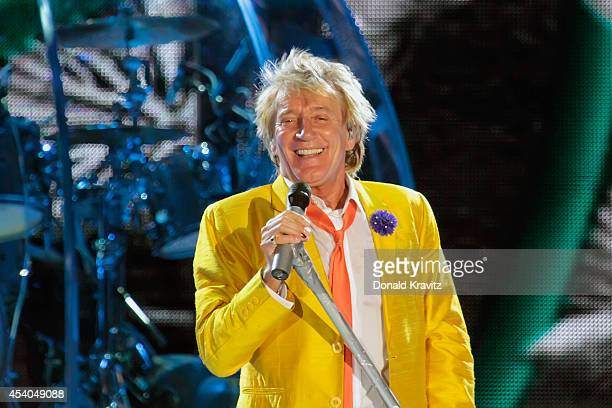 Rod Stewart performs at Mark G Etess Arena Trump Taj Mahal on August 23 2014 in Atlantic City New Jersey