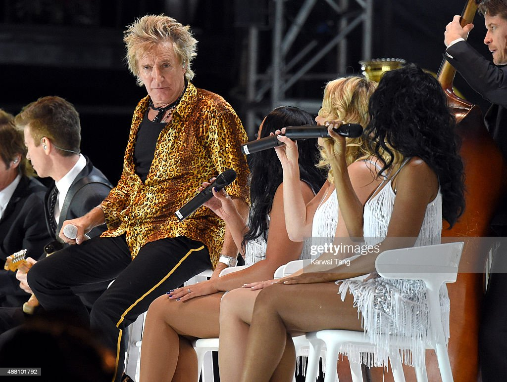 Rod Stewart performs at the BBC Radio 2 Live In Hyde Park Concert at Hyde Park on September 13, 2015 in London, England.
