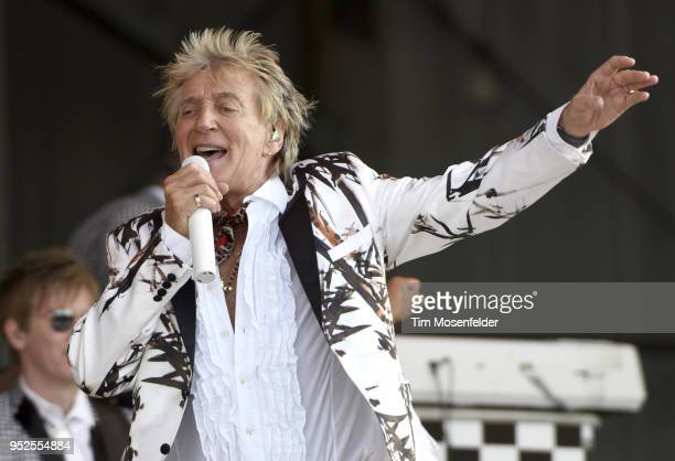 Rod Stewart performs during the 2018 New Orleans Jazz Heritage Festival at Fair Grounds Race Course on April 28 2018 in New Orleans Louisiana
