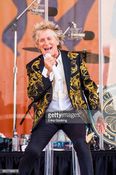 Rod Stewart performs during the New Orleans Jazz Heritage Festival at Fair Grounds Race Course on April 28 2018 in New Orleans Louisiana
