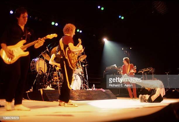 Rod Stewart performs live on stage at the Forum in Los Angeles in December 1981 LR Robin Le Mesurier Jay Davis Jim Cregan Wally Stocker Rod Stewart