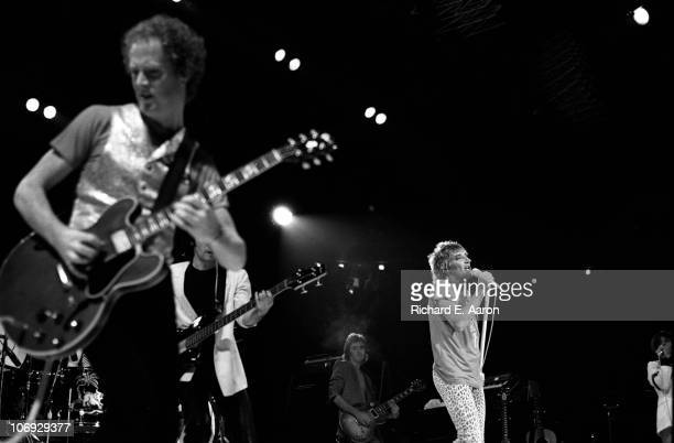 Rod Stewart performs live on stage at the Forum in Los Angeles in December 1981 LR Jim Cregan Jay Davis Wally Stocker Rod Stewart