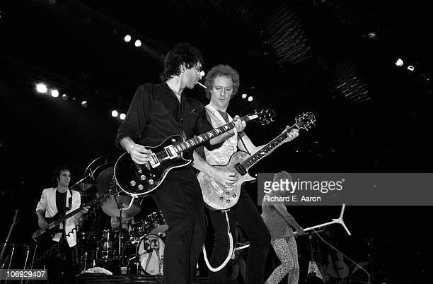 Rod Stewart performs live on stage at the Forum in Los Angeles in December 1981 LR Jay Davis Robin Le Mesurier Jim Cregan Rod Stewart