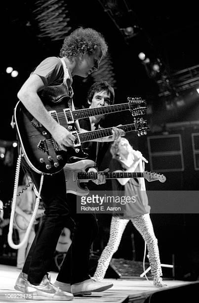 Rod Stewart performs live on stage at the Forum in Los Angeles in December 1981 LR Jim Cregan Robin Le Mesurier Rod Stewart