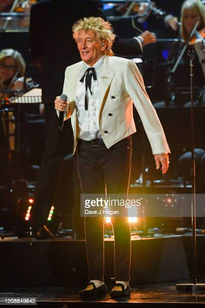 Rod Stewart performs live on stage during The BRIT Awards 2020 at The O2 Arena on February 18, 2020 in London, England.