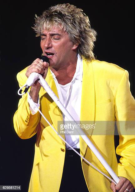 Rod Stewart performs on stage in London 1991