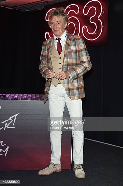 Rod Stewart poses for photographs prior to signing copies of his new album at HMV Oxford Street on November 2 2015 in London England