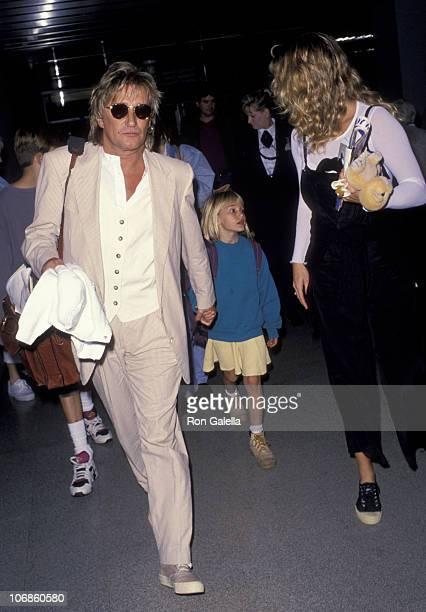 Rod Stewart Rachel Hunter and daughter during Rod Stewart and Rachel Hunter Sighting at the Los Angeles International Airport December 5 1994 at Los...