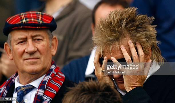 Rod Stewart reacts during the Euro 2008 Group B qualifying match between Scotland and Ukraine at Hampden Park on October 13 2007 in Glasgow Scotland