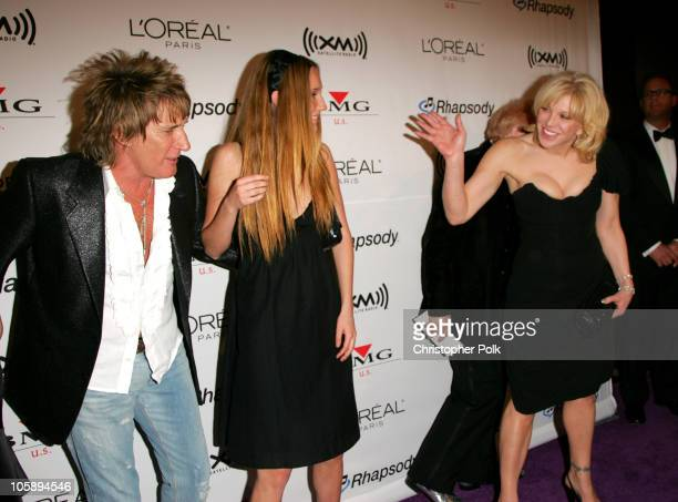 Rod Stewart Ruby Stewart and Courtney Love during 2006 Clive Davis PreGRAMMY Awards Party Arrivals at Beverly Hilton Hotel in Beverly Hills...