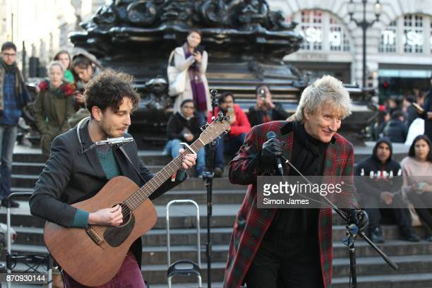 Rod Stewart seen busking at Piccadilly Circus with fellow busker Henry Facey on November 6 2017 in London England