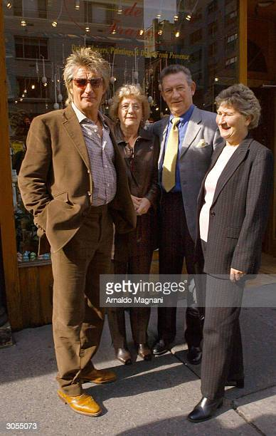 Rod Stewart stands in front of La Goulue Restaurant with his brother Don Don's wife Pat and sister Mary from Scotland March 1 2004 in New York City