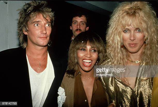 Rod Stewart Tina Turner and Alana Stewart circa 1981 in New York City