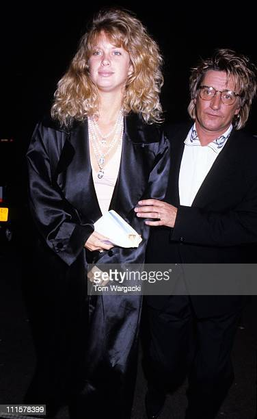 Rod Stewart with wife Rachel Hunter during Rod Stewart and Rachel Hunter Sighting September 3 1993 in London Great Britain