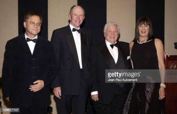 Rod Stoneman President Irish Film board Dr Iognaid O Muircheartaigh President of NUI Galway Merv Griffin and Anjelica Huston