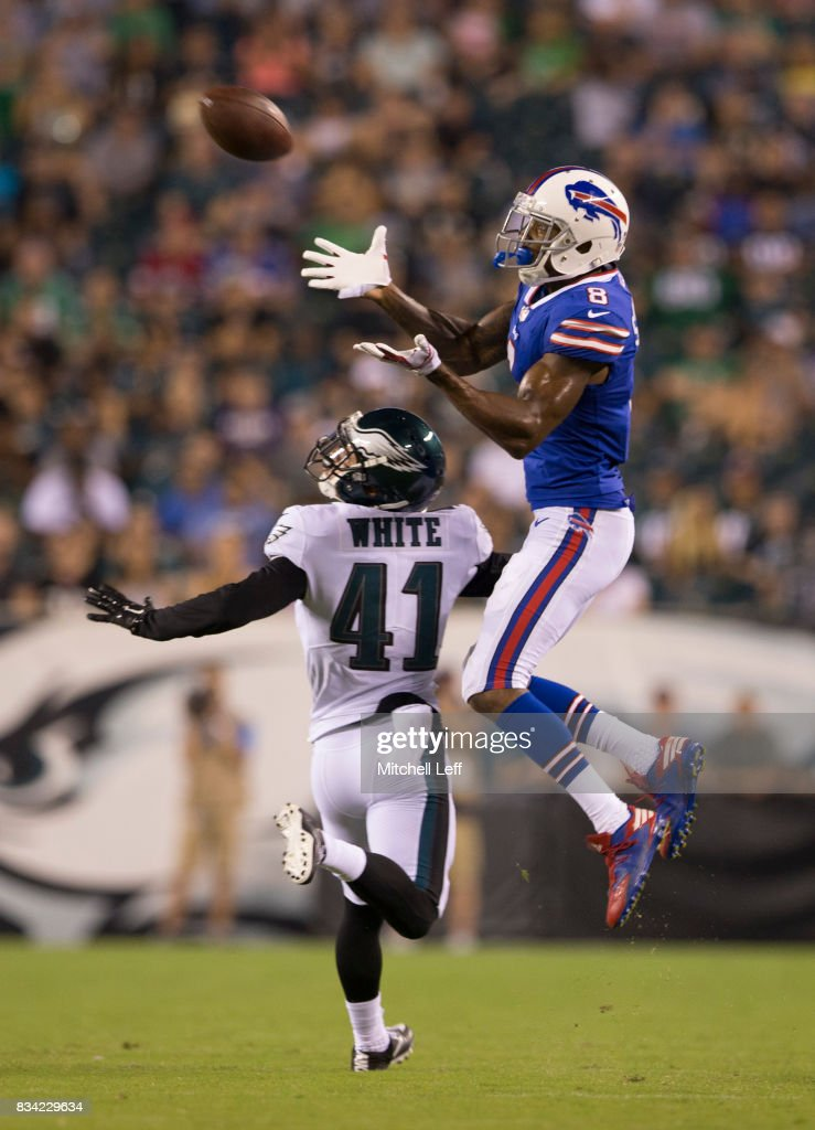 Rod Streater #8 of the Buffalo Bills catches a pass against Mitchell White #41 of the Philadelphia Eagles in the third quarter of the preseason game at Lincoln Financial Field on August 17, 2017 in Philadelphia, Pennsylvania. The Eagles defeated the Bills 20-16.