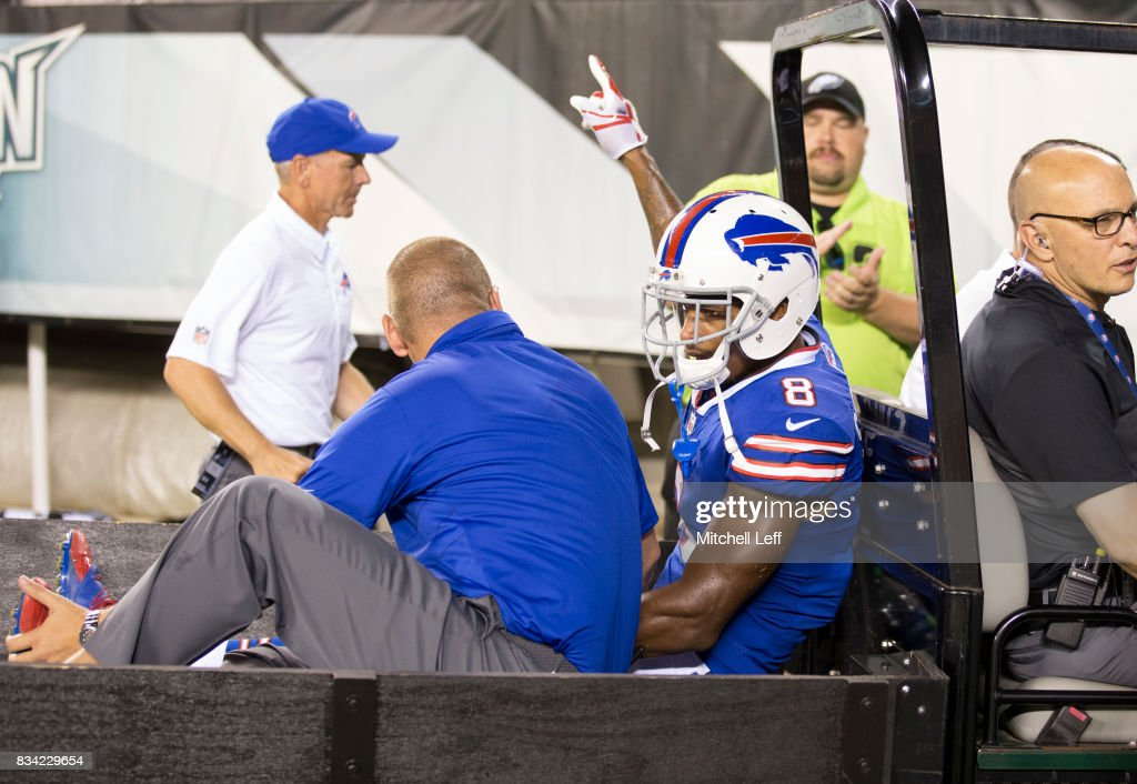 Rod Streater #8 of the Buffalo Bills points to the crowd after being carted off the field in the fourth quarter of the preseason game against the Philadelphia Eagles at Lincoln Financial Field on August 17, 2017 in Philadelphia, Pennsylvania. The Eagles defeated the Bills 20-16.