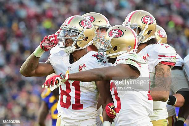 Rod Streater of the San Francisco 49ers celebrates with teammates after scoring a touchdown during the fourth quarter against the Los Angeles Rams at...
