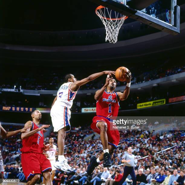 Rod Strickland of the Washington Bullets shoots during a game played on March 4 1997 at the First Union Arena in Philadelphia Pennsylvania NOTE TO...