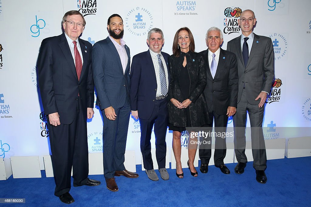 Rod Thorn, Deron Williams, Craig Karmazin, Liz Feld, Mel Karmazin and Adam Silver attend the Autism Speaks Tip-off For A Cure 2015 on March 30, 2015 in New York City.