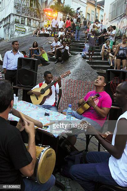 Roda de samba meeting of musicians around a table for playing samba at Pedra do Sal in the port zone of the city Pedra do Sal a historical and...