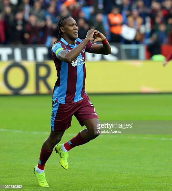 Rodallega of Trabzonspor celebrates after scoring a goal during the Turkish Super Lig football match between Trabzonspor and MKE Ankaragucu at the...