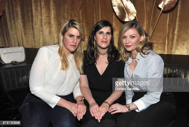 Rodarte CoFounders Laura Mulleavy Kate Mulleavy and actor Kirsten Dunst attend the Panthere de Cartier Party in LA at Milk Studios on May 5 2017 in...