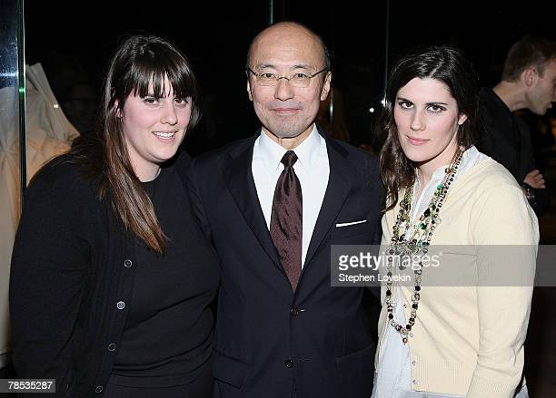 Rodarte designers Kate Mulleavy Laura Mulleavy and curator of the MET exhibit Harold Koda attend the Blogmode Addressing Fashion reception at The...