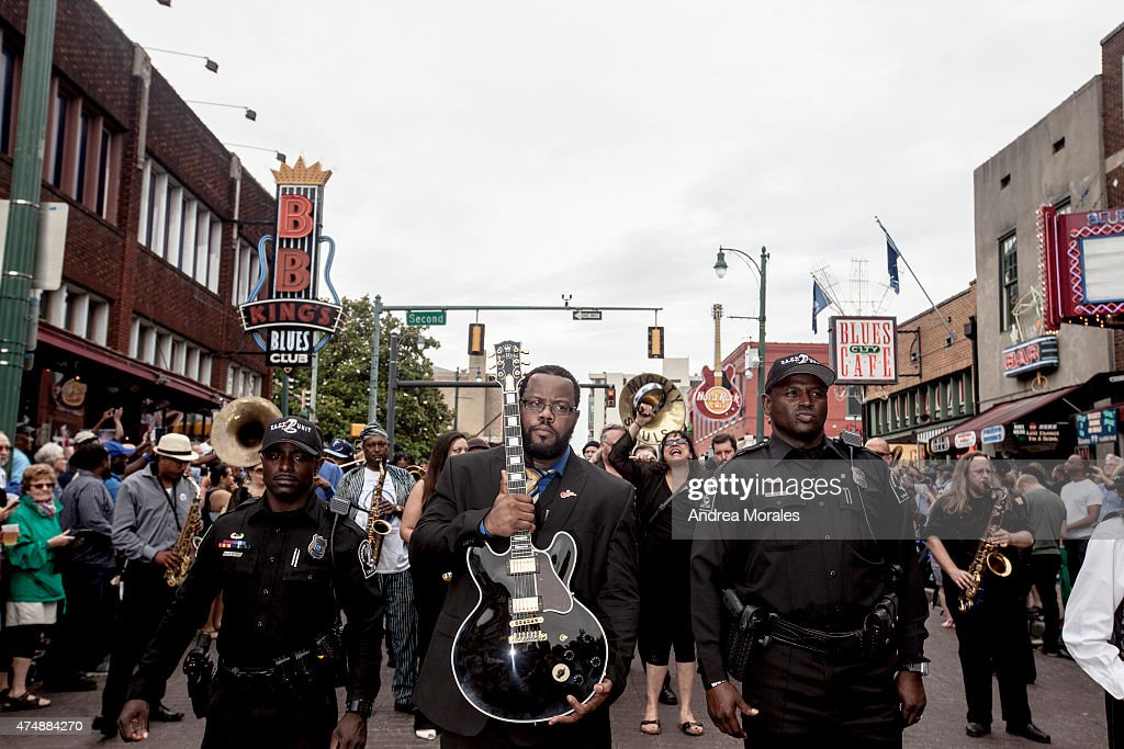 Rodd Bland, son of blues legend Bobby Bland, carries Lucille, one of B.B. King's beloved guitars, at the front of the processional down Beale Street following the memorial in honor of B.B. King on May 27, 2015 in Memphis, Tennessee. King passed away on May 14, 2015 at the age of 89.