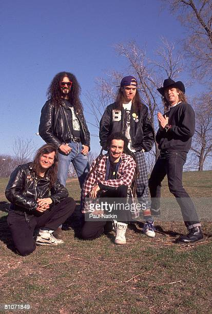 Roddy Bottum, Jim Martin, Mike Bordin, Mike Patton and Billy Gould of Faith No More on 4/1/90 in Chicago, IL.