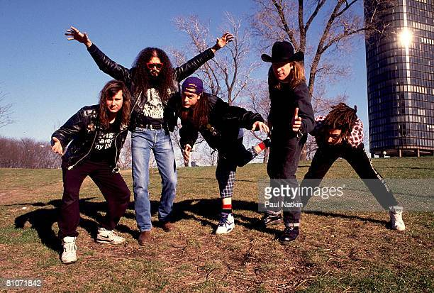 Roddy Bottum, Jim Martin, Mike Patton, Billy Gould and Mike Bordin of Faith No More on 4/1/90 in Chicago, IL.