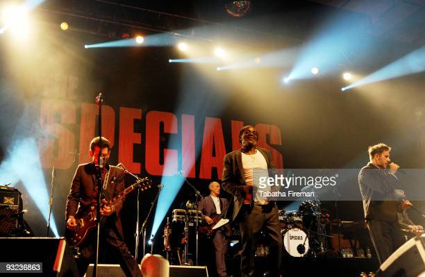 Roddy Byers Horace Panter Neville Staple and Terry Hall of The Specials perform on stage at Brighton Centre on November 19 2009 in Brighton England