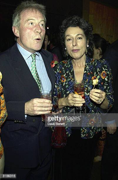 Roddy Llewellyn and wife attend Theo Fennell 21st Birthday Party at The Collection on October 29 2003 in London