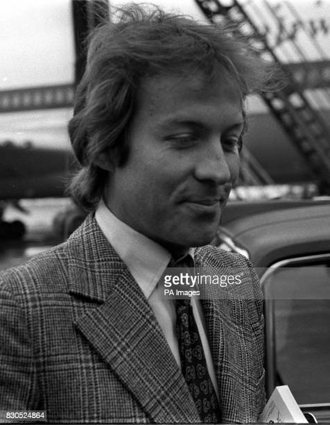 Roddy Llewellyn arrives at London's Heathrow Airport for his flight to the tiny island of Mustique where he will be holidaying with Princess Margaret...