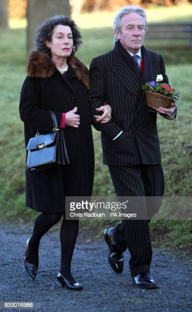 Roddy Llewellyn brother of Sir Dai Llewellyn and wife Tatiana arrive at St Marys Church for his brothers funeral Coddenham Suffolk