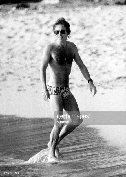 Roddy Llewellyn on the beach on Mustique Island March 1980 while on holiday there with Princess Margaret