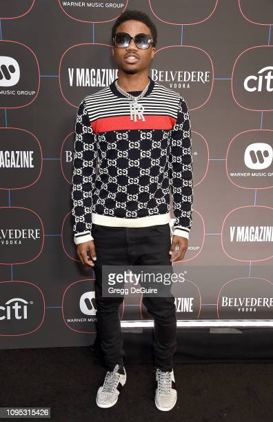 Roddy Ricch arrives at the Warner Music Group PreGrammy Celebration at Nomad Hotel Los Angeles on February 7 2019 in Los Angeles California