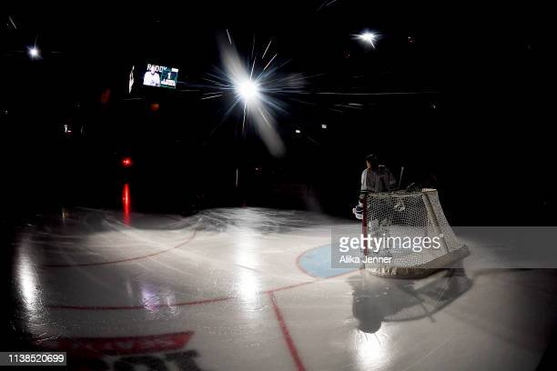 Roddy Ross of the Seattle Thunderbirds stands in the spotlight during player introductions agains the Vancouver Giants at the accesso ShoWare Center...