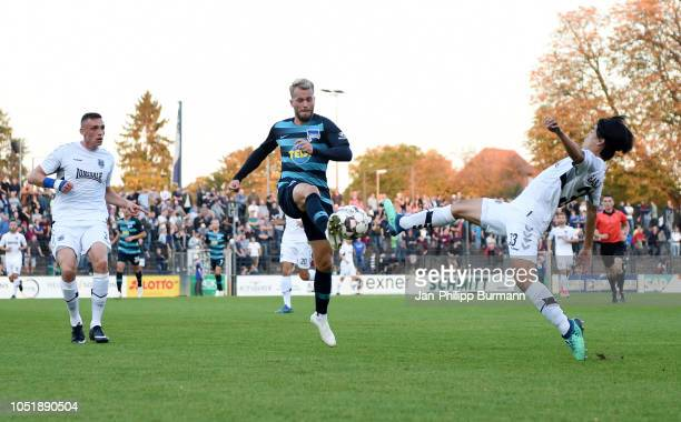Rode Valentin of SV Babelsberg 03 Pascal Koepke of Hertha BSC and Masami Okada of SV Babelsberg 03 during the friendly match between Hertha BSC and...