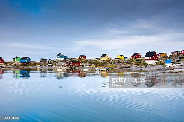 rodebay oqaatsut settlement, greenland - greenland stock pictures, royalty-free photos & images