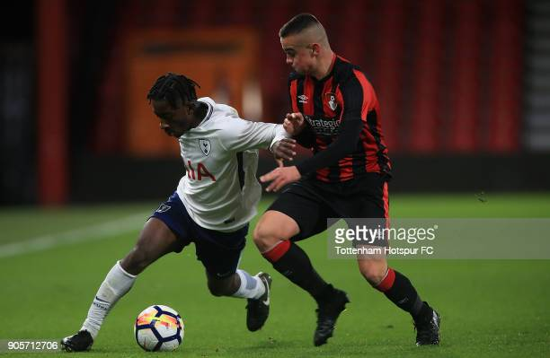 Rodel Richards of Tottenham Hotspur holds off pressure from Connal Morrison of Bournemouth during the FA Youth Cup match between Bournemouth U18 and...